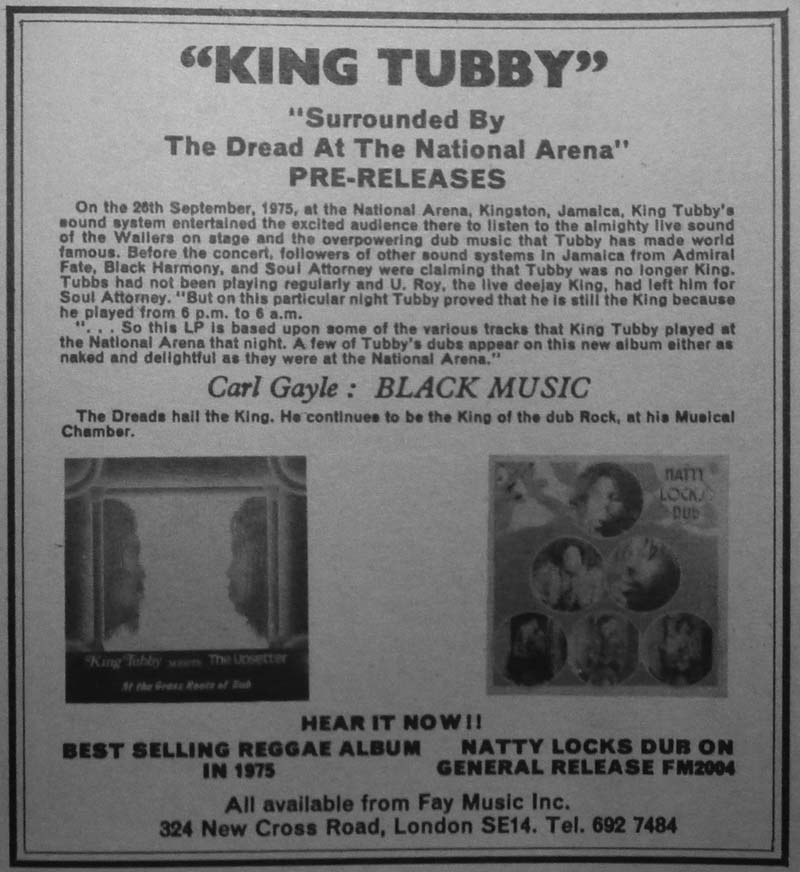 King Tubby Dub Album Discography Page 3 1976 At X Ray Music